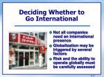 deciding whether to go international