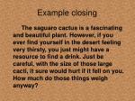 example closing