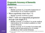 prognostic accuracy of dementia guidelines