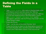defining the fields in a table