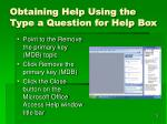 obtaining help using the type a question for help box1