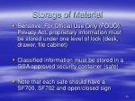 storage of material
