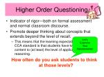 higher order questioning