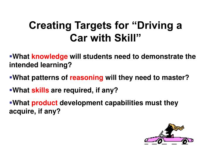 """Creating Targets for """"Driving a Car with Skill"""""""