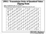 jpeg transmission order of quantized values zigzag scan