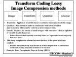 transform coding lossy image compression methods