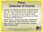 2010 in 4 h horse and pony calendar of events