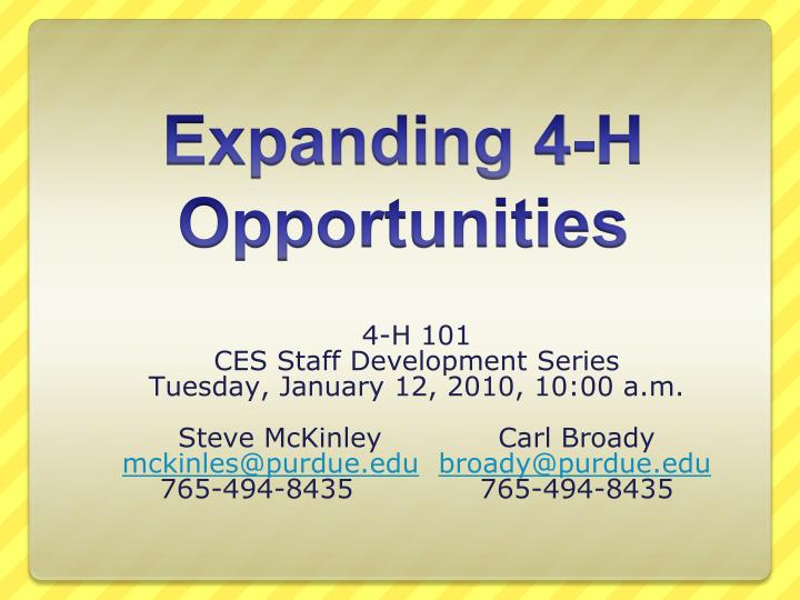 expanding 4 h opportunities n.