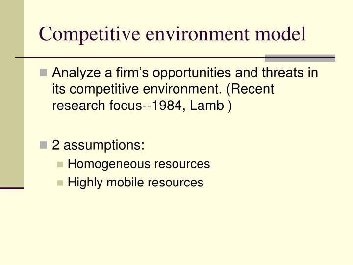 Competitive environment model
