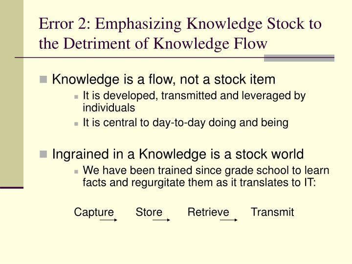 Error 2: Emphasizing Knowledge Stock to the Detriment of Knowledge Flow