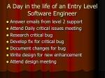 a day in the life of an entry level software engineer