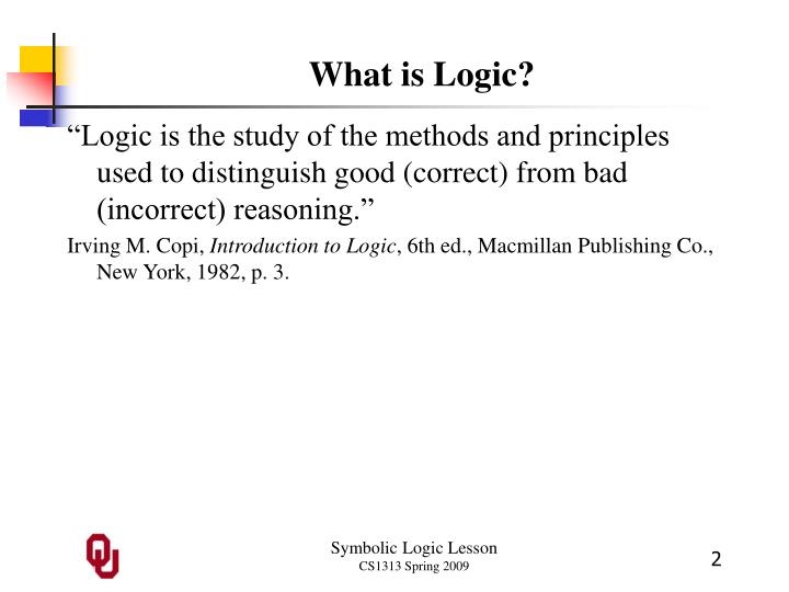Ppt Symbolic Logic Outline Powerpoint Presentation Id805862