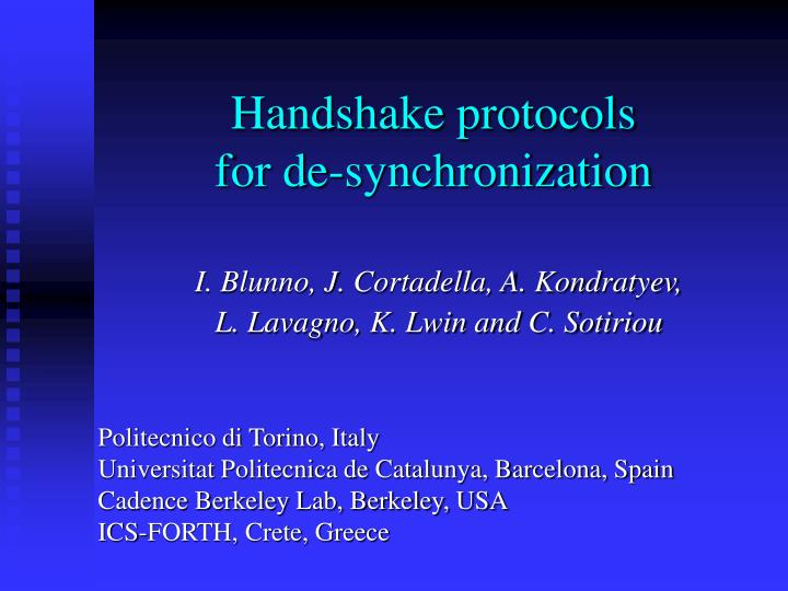 handshake protocols for de synchronization n.