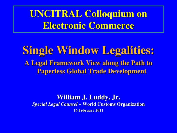 uncitral colloquium on electronic commerce n.