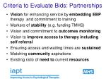 criteria to evaluate bids partnerships