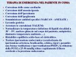 terapia di emergenza nel paziente in coma