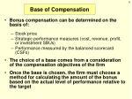 base of compensation