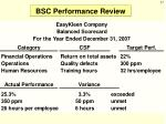 bsc performance review