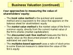 business valuation continued