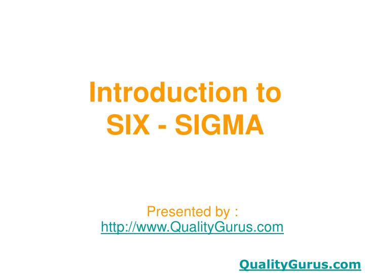 introduction to six sigma n.