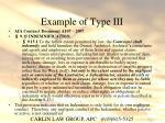 example of type iii