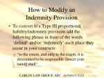 how to modify an indemnity provision