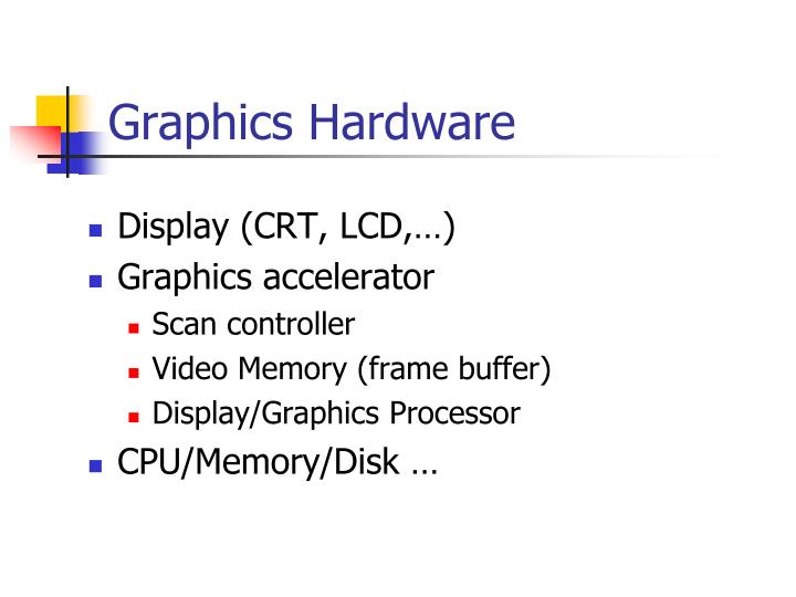 graphics hardware n.