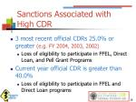 sanctions associated with high cdr