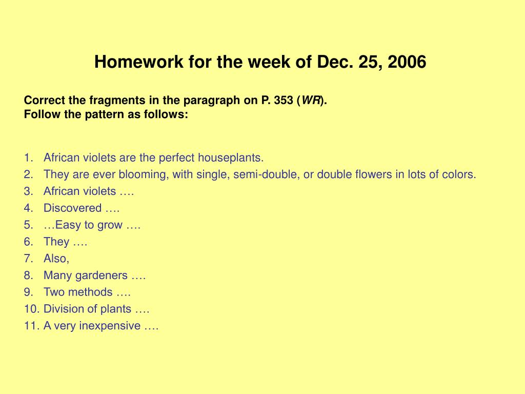 Homework for the week of Dec. 25, 2006
