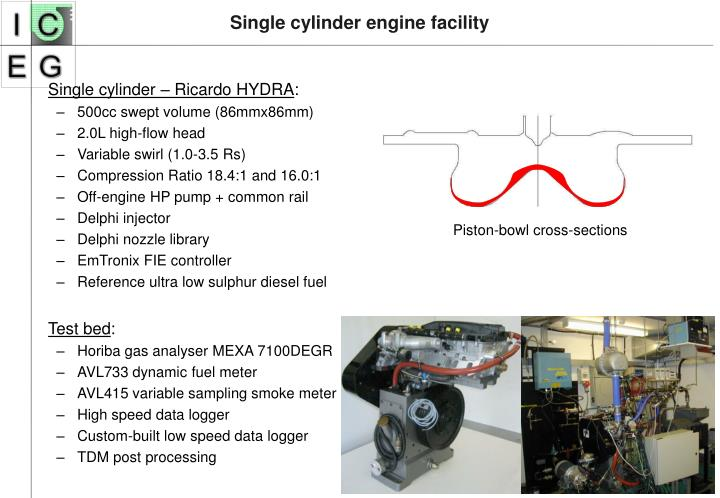 Single cylinder engine facility