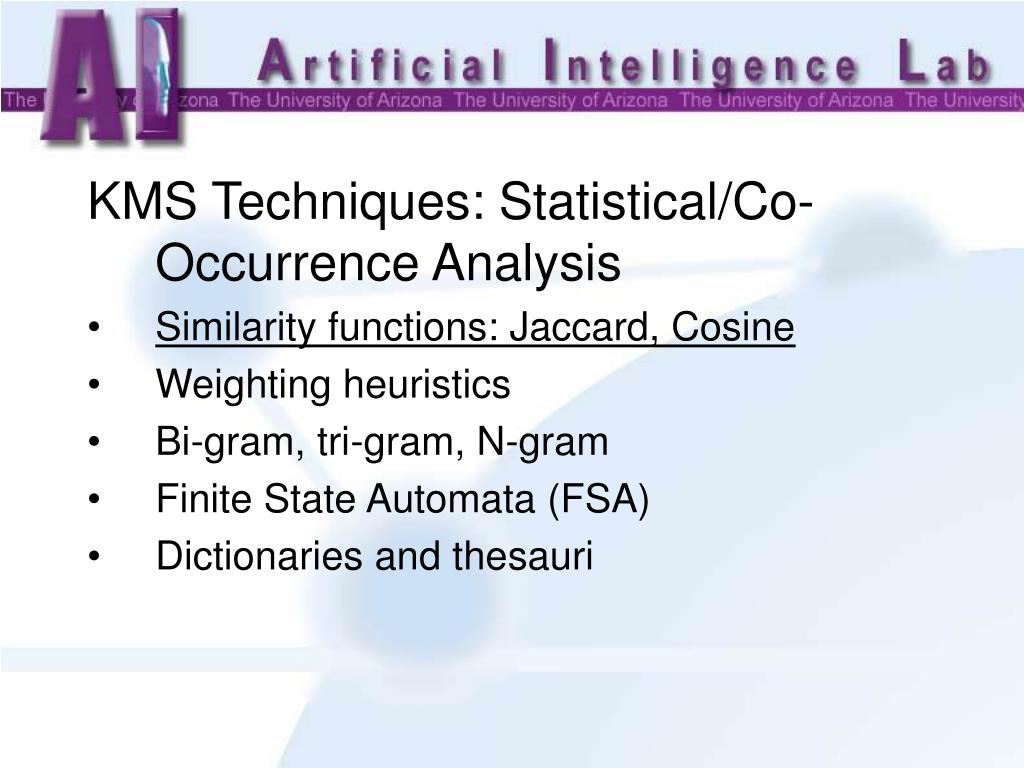 KMS Techniques: Statistical/Co-Occurrence Analysis