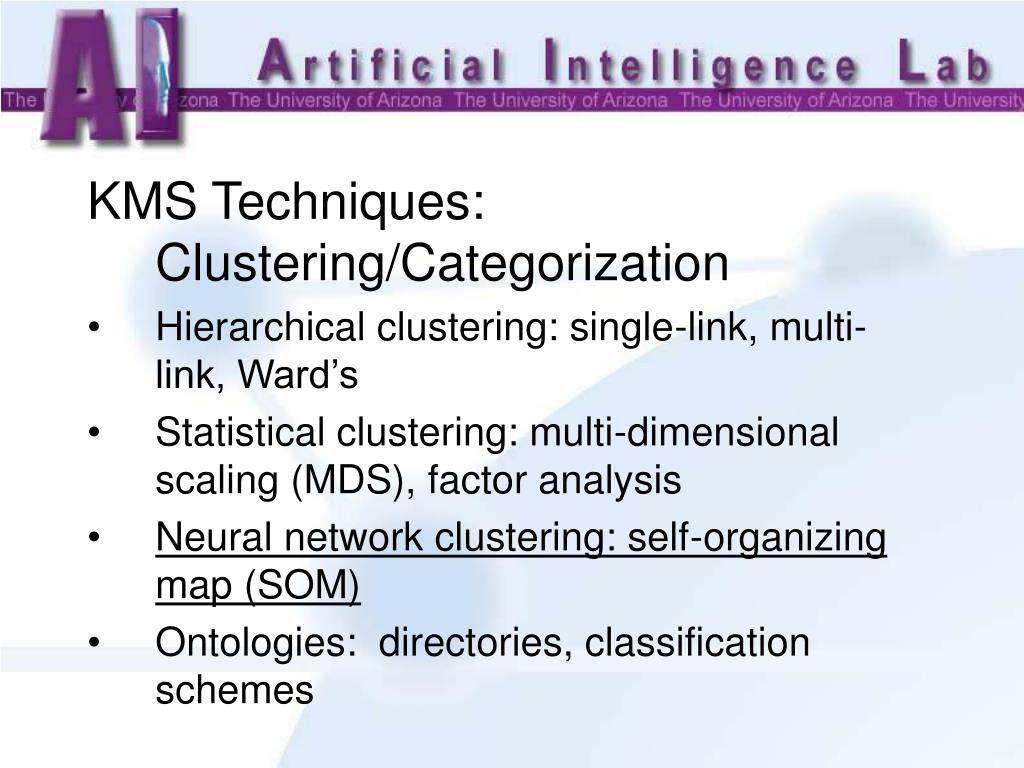 KMS Techniques: Clustering/Categorization