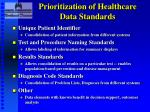 prioritization of healthcare data standards