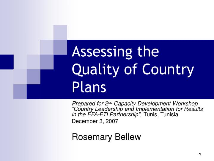 assessing the quality of country plans n.