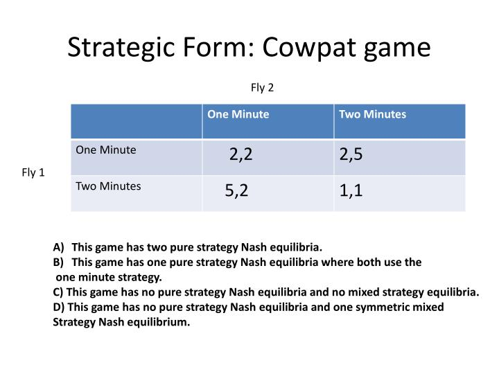 Strategic Form: Cowpat game