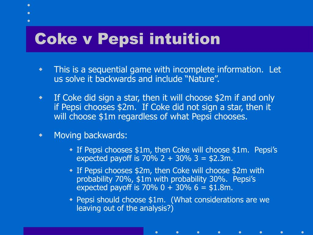 Coke v Pepsi intuition