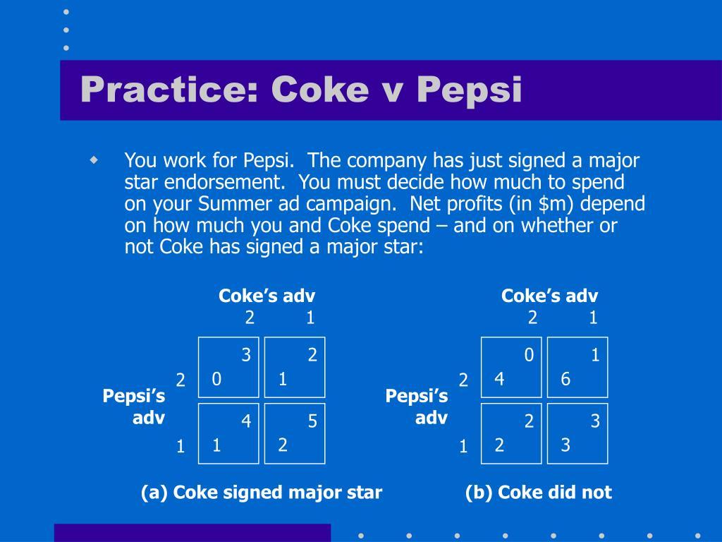 Practice: Coke v Pepsi
