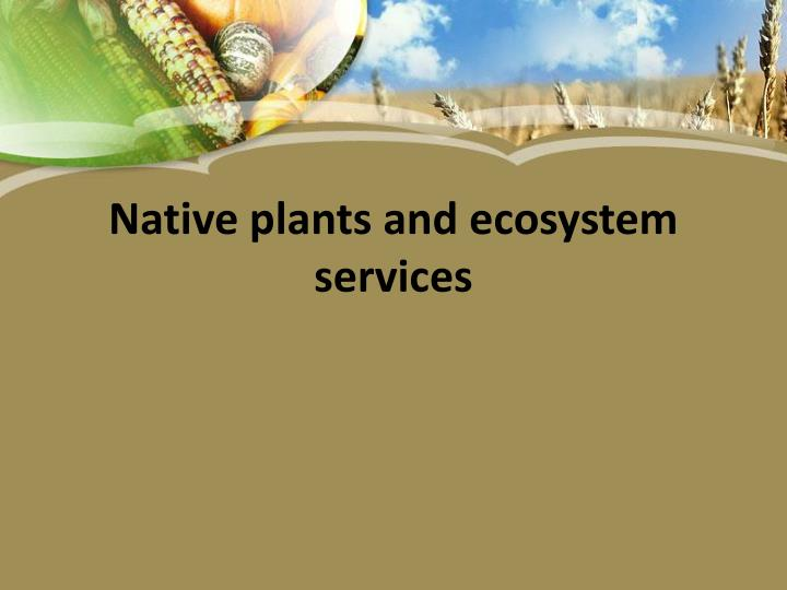 native plants and ecosystem services n.