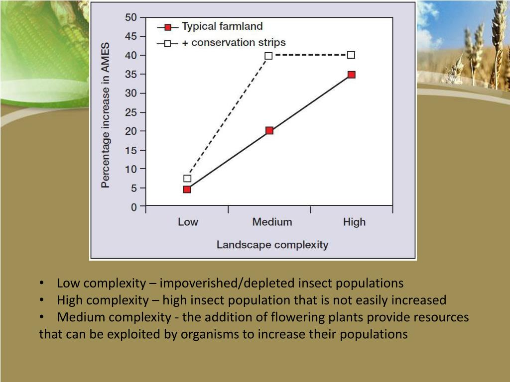 Low complexity – impoverished/depleted insect populations
