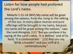 listen for how people had profaned the lord s name
