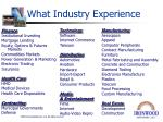 what industry experience