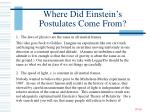 where did einstein s postulates come from