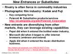 new entrances or substitutes
