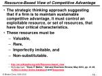 resource based view of competitive advantage