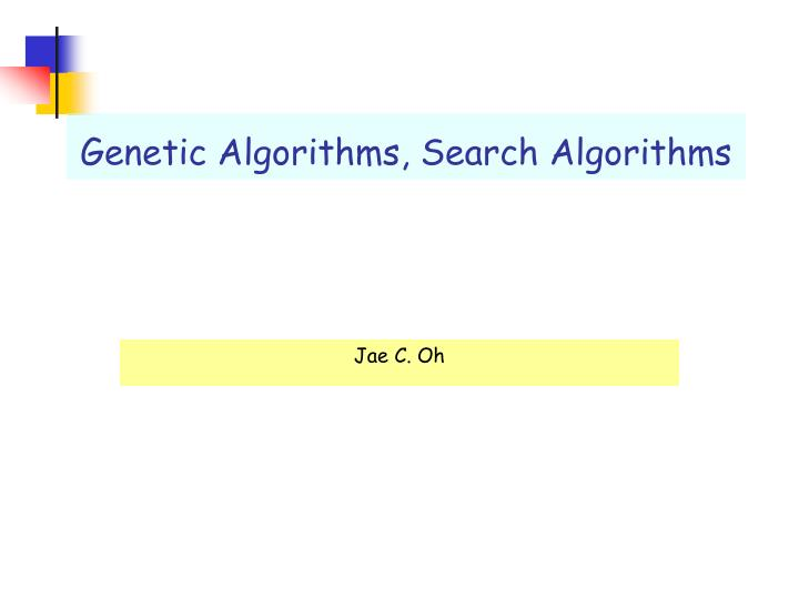 genetic algorithms search algorithms n.