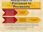 assignment of processes to processors