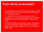from un ity to diversity