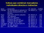 indices que combinan marcadores individuales directos e indirectos