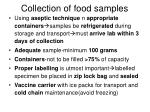 collection of food samples