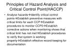principles of hazard analysis and critical control point haccp